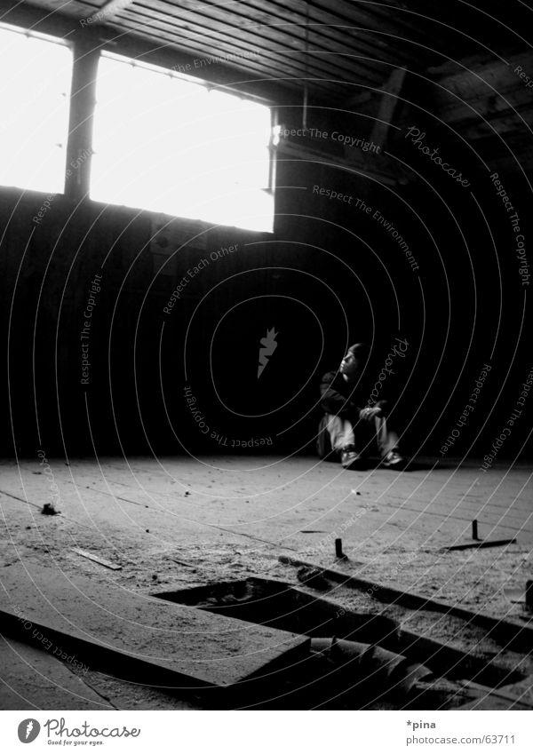Human being Man Old Loneliness Dark Window Think Wait Dirty Planning Sit Hope Factory Broken Desire Shabby