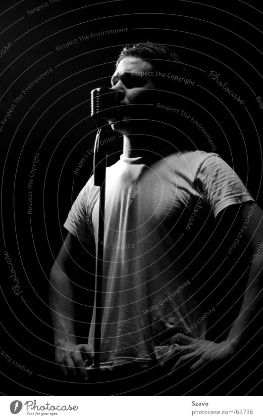 singer Singer Concert Live Microphone Stage Light Music Black & white photo