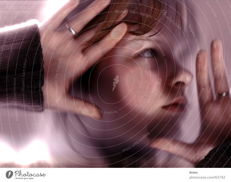 Woman Hand Face Eyes Hair and hairstyles Think Mouth Circle Window pane Scan