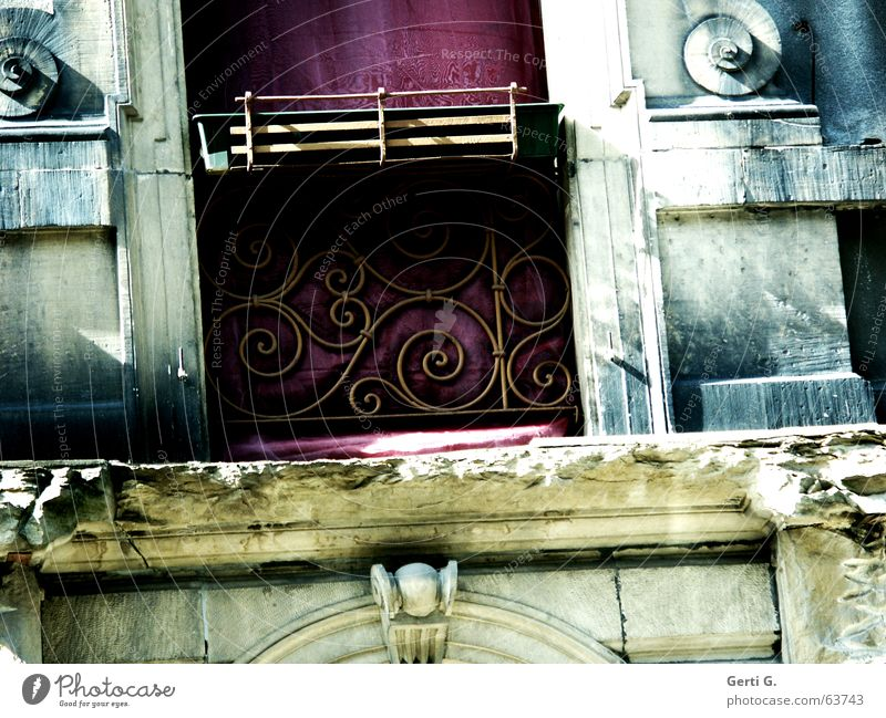 oblique part Style Multicoloured Derelict Clean Window box Balcony plant Empty Spiral Masonry Ancient Curlicue Stucco Violet Frontal Facade Plaster
