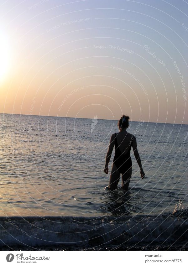 rendevouz with the sun Ocean Horizon Sunrise Morning Refreshment Woman Swimming & Bathing Vacation & Travel Turkey Water Dawn Loneliness
