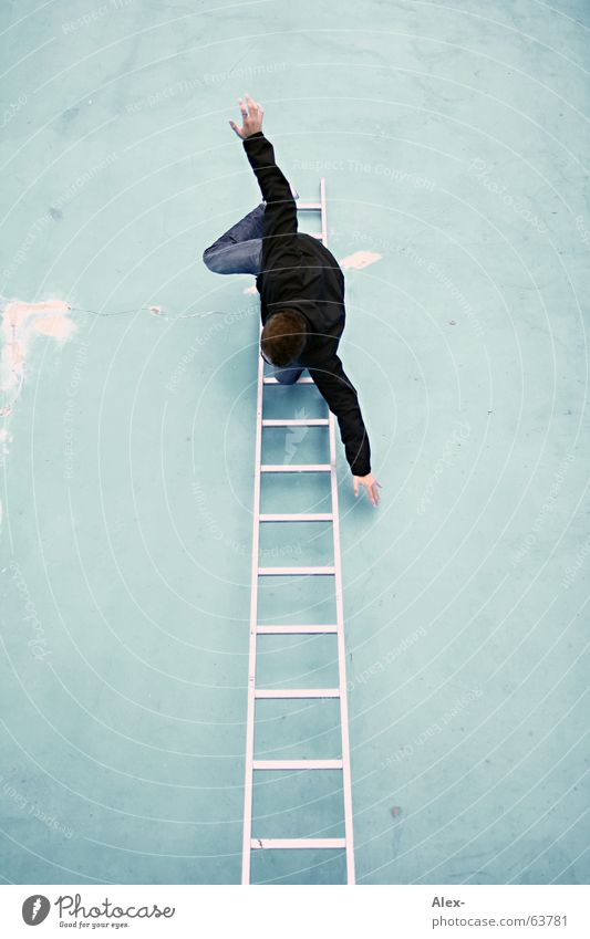 Man Joy Death Wall (building) Funny Stairs Crazy Point Swimming pool To fall Climbing Top Ladder Freak To break (something) Go up