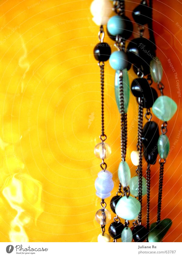 Beads | Tiles Beautiful Calm Summer Jewellery Glittering Yellow Black White Pearl Turquoise Chain Colour photo Multicoloured Interior shot Deserted