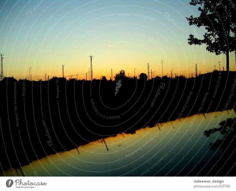 railway lines Sunset Electricity Reflection Tree Railroad