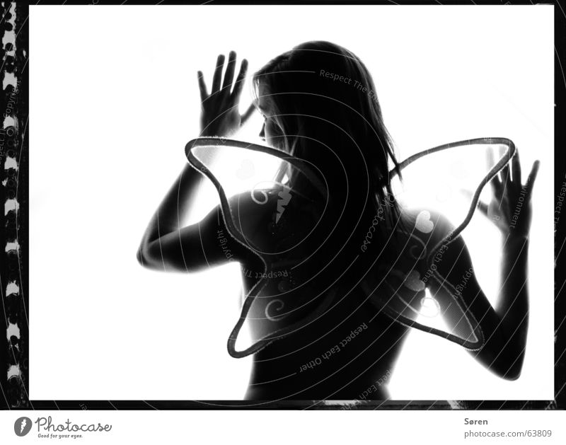 Woman Naked Emotions Delicate Touch Butterfly Nude photography Caution Fragile Black & white photo