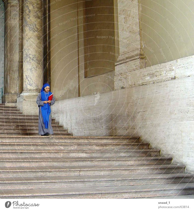 spot of colour Vatican Religion and faith Europe Nun Think Exterior shot Blue ponder