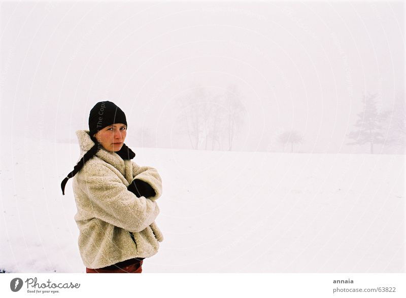 the white day Woman Cap Braids Cold Winter Earnest France Human being Portrait photograph White snow not ok it's not ok but i don't mind arms crossed