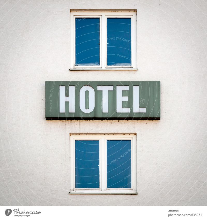 HOTEL Vacation & Travel Tourism Services Business Town Building Architecture Hotel Facade Window Signs and labeling Simple Blue White Symmetry Colour photo