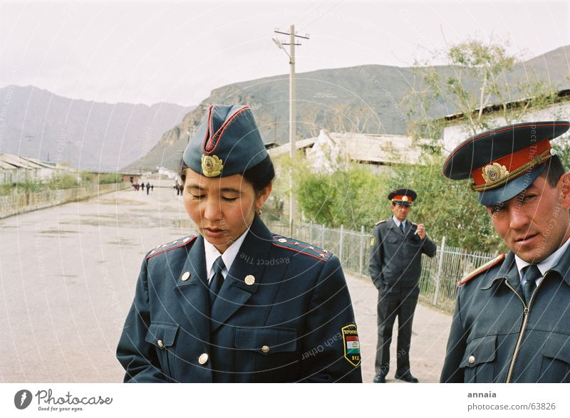 Woman Human being Man Street Mountain Multiple Border Police Officer Testing & Control Skeptical Uniform