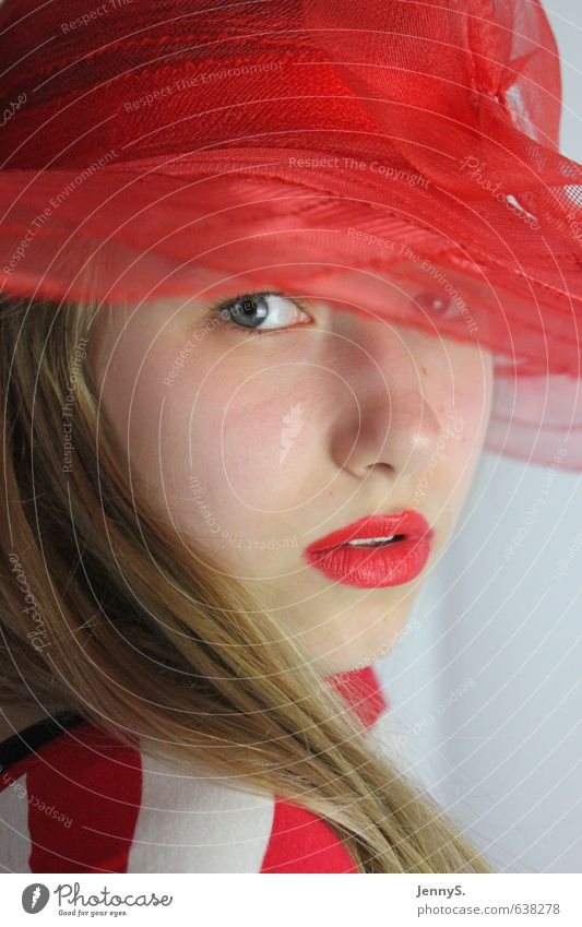 Human being Child Youth (Young adults) Beautiful Colour Red Young woman Girl Face Feminine Fashion Elegant Blonde 13 - 18 years Mysterious Hat