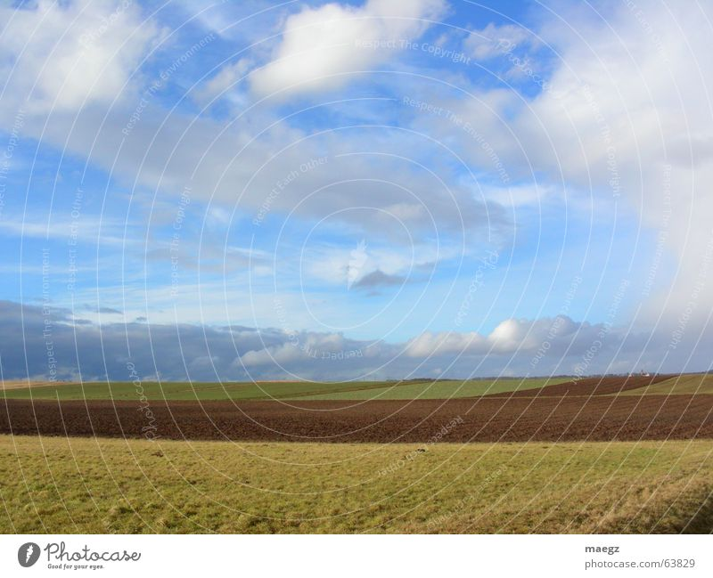 Nature Sky White Green Blue Clouds Freedom Landscape Brown Field Fresh Village Agriculture