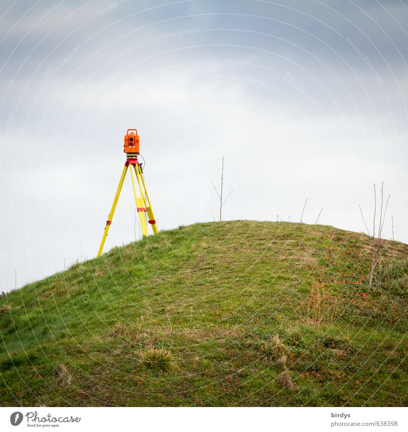 surveying Tripod Measuring instrument theodolite Measurement Optical instruments Technology High-tech Sky Clouds Meadow Hill Stand Esthetic Authentic Positive