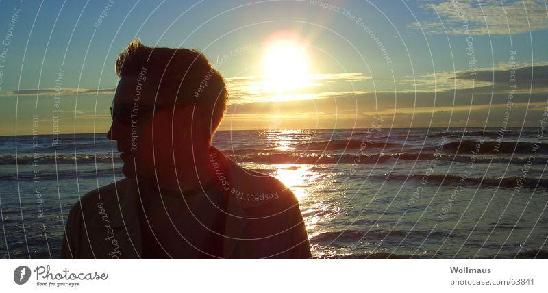 beach boy Beach Silhouette Light Sunset Ocean Romance Profile Shadow Kitsch