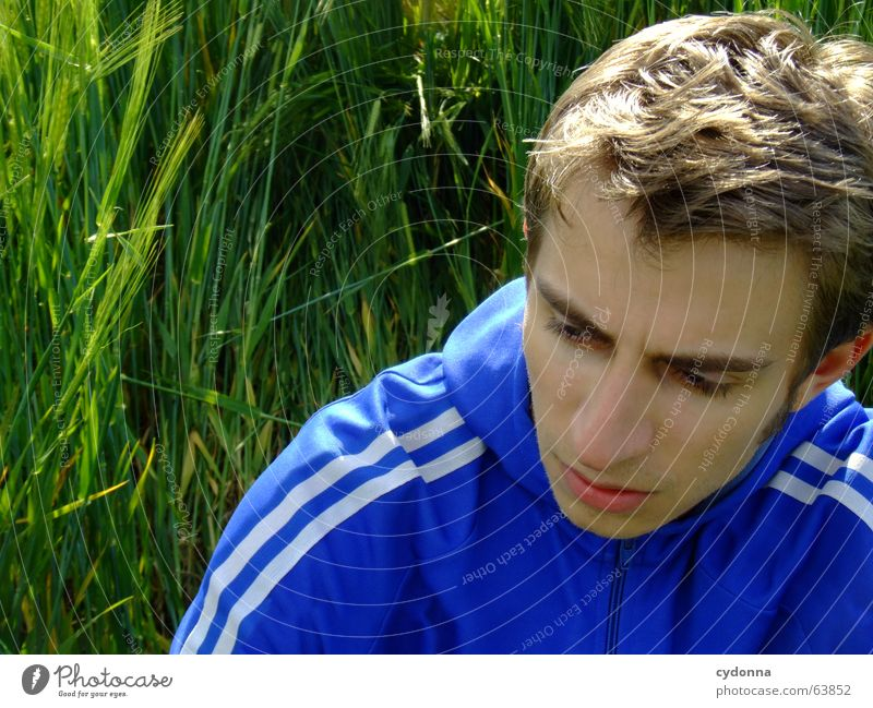 Human being Man Nature Blue Green Summer Calm Face Emotions Grass Think Field Break Jacket Fatigue Facial expression