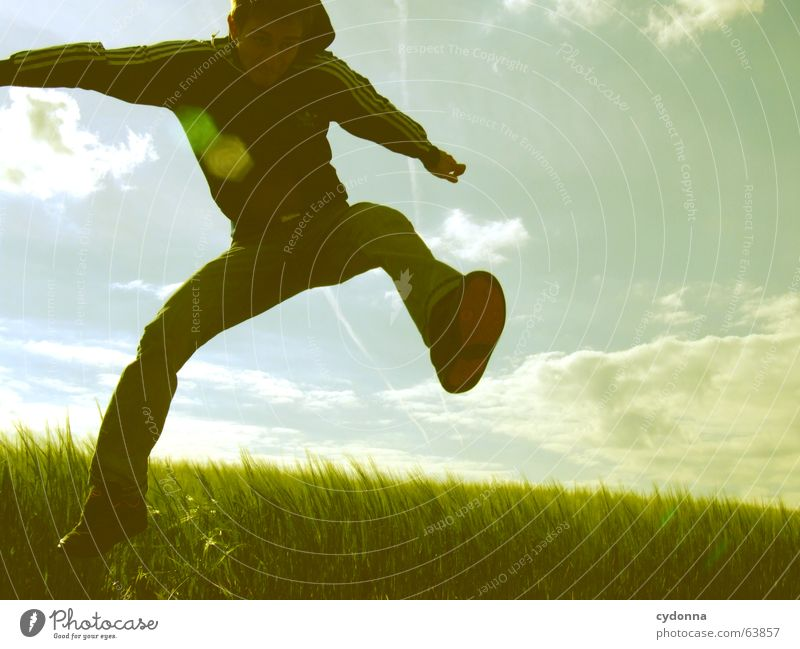 Jump free! Man Jacket Hooded jacket Grass Field Summer Emotions Hop Crazy Playing Posture Human being Facial expression Looking Nature Sky Power Flying Freedom