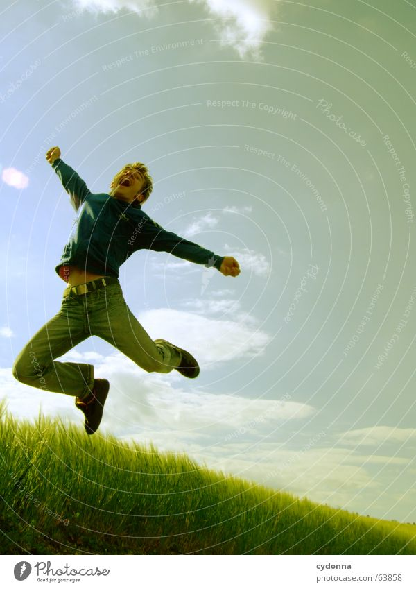 Human being Sky Man Nature Sun Summer Joy Landscape Playing Emotions Freedom Grass Jump Power Field Flying