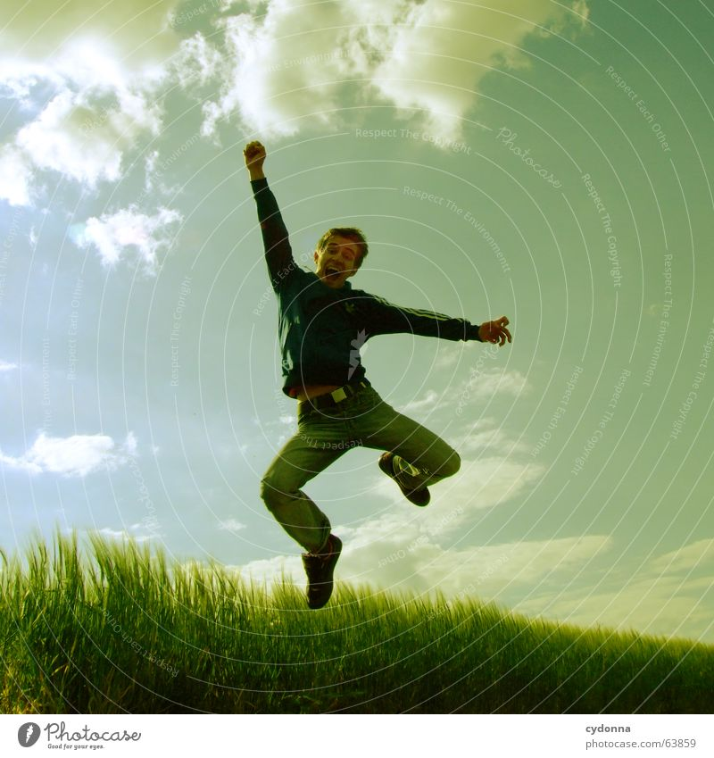 Jump free! #2 Man Jacket Hooded jacket Grass Field Summer Emotions Hop Crazy Playing Posture Scream Human being Facial expression Looking Nature Sky Power