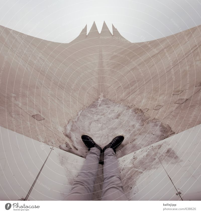 Rocket man Human being Legs Feet 1 Palace Future Tent Lace Point Tempodrom Roof White Go up Ambitious Prongs Heaven Paradise Track Colour photo Exterior shot