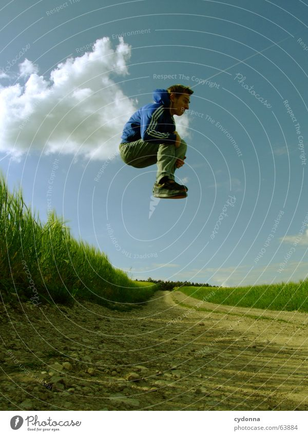 Human being Sky Man Nature Youth (Young adults) Summer Joy Clouds Landscape Playing Emotions Freedom Grass Jump Power Field