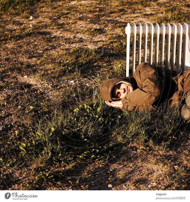 warm summer day dream Summer Sleep Cozy Crazy Tramp Human being Floor covering Heater Warmth Jacket grass