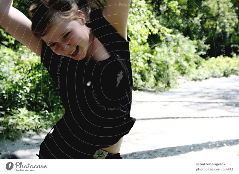 Green Sun Girl Joy Black Face Meadow Lanes & trails Happy Laughter Jump Arm Bushes Stomach Hop Belt