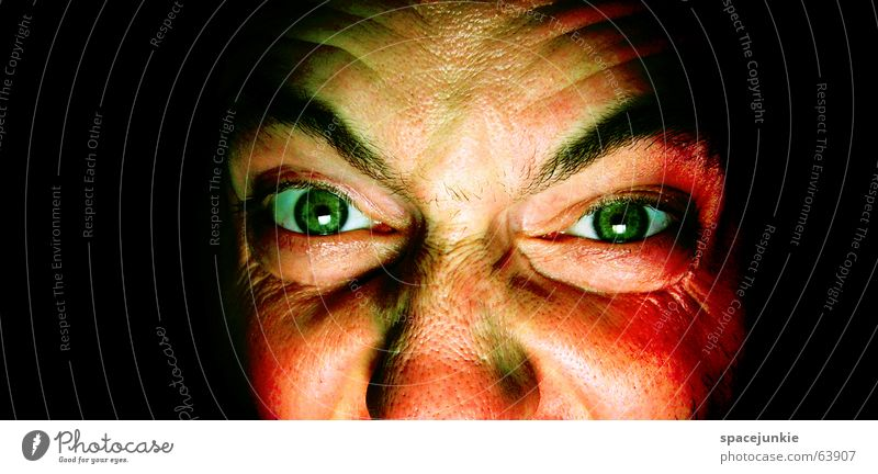 killing glance Man Evil Anger Portrait photograph Freak Fear Alarming Dark Black Crazy Green Face Looking Human being Force Eyes Detail