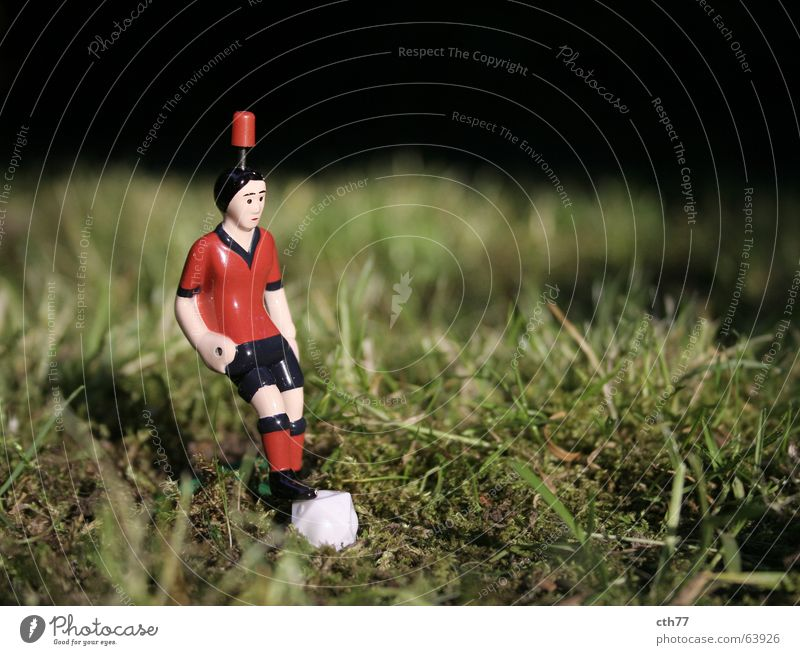 Ramazotti Kicker Still Life Sports Piece 1 Close-up Shallow depth of field Front view Grass Colour photo Deserted Exterior shot Table soccer