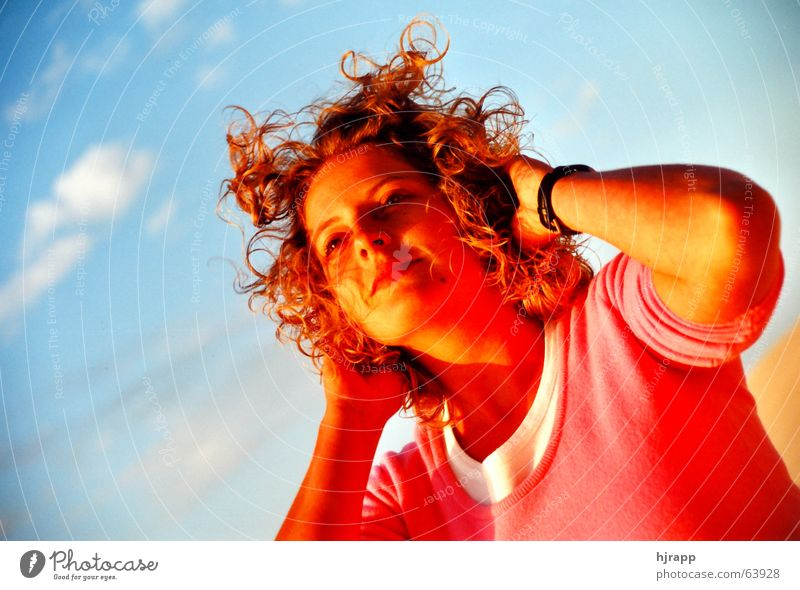Woman Sky Sun Red Beach Vacation & Travel Relaxation Happy Hair and hairstyles Pink To enjoy
