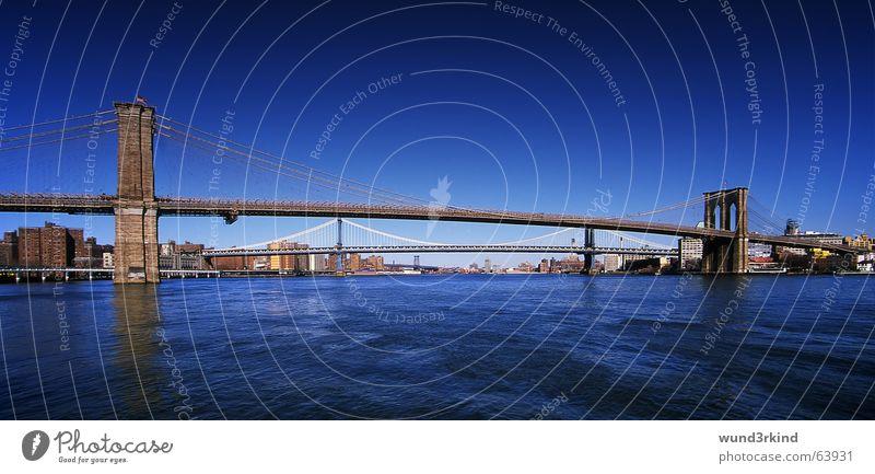 Water Blue Vacation & Travel Colour Transport Bridge USA Americas Traffic infrastructure New York City Impressive Brooklyn Pol-filter East coast