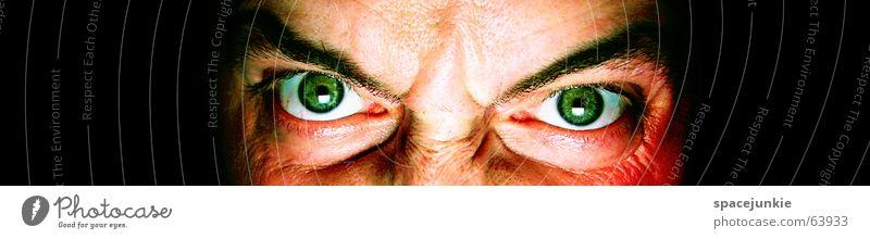 Human being Man Green Face Black Eyes Dark Fear Crazy Anger Force Evil Freak Alarming