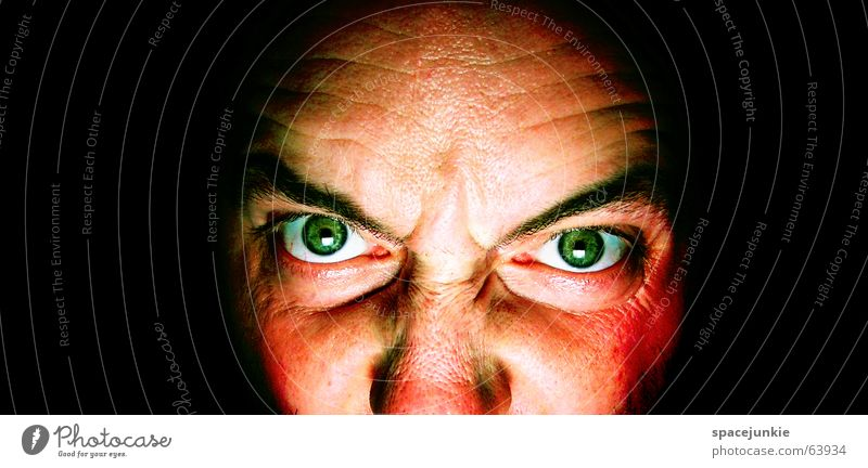 killing glance (3) Man Evil Anger Portrait photograph Freak Fear Alarming Dark Black Crazy Green Face Looking Human being Force Eyes Detail