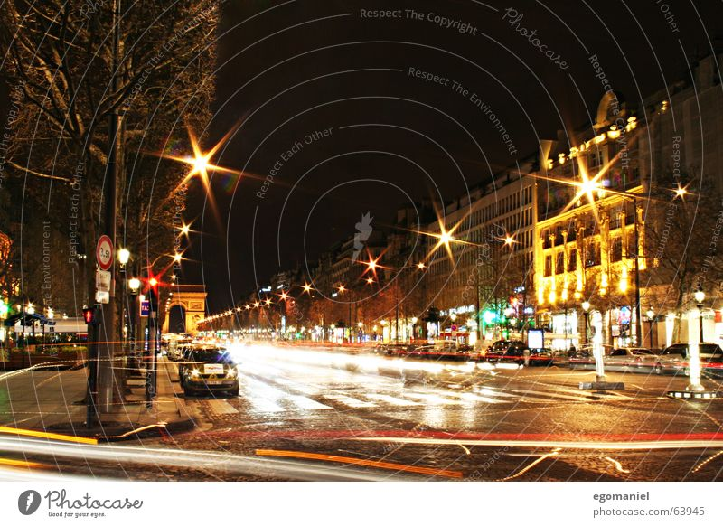 Les Champs-Élysées Paris France Night Long exposure Champs-Elysées Town Car Movement