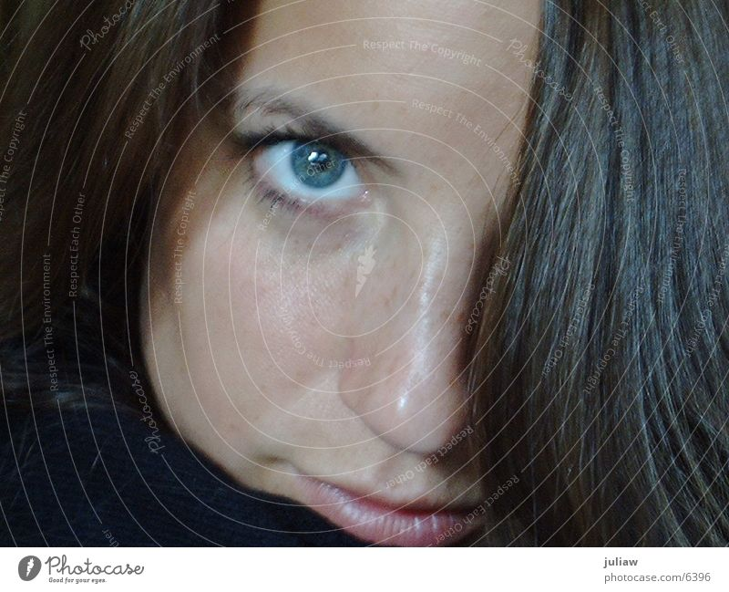 Have a look________ Strand of hair Woman Eyes Blue Hair and hairstyles Looking