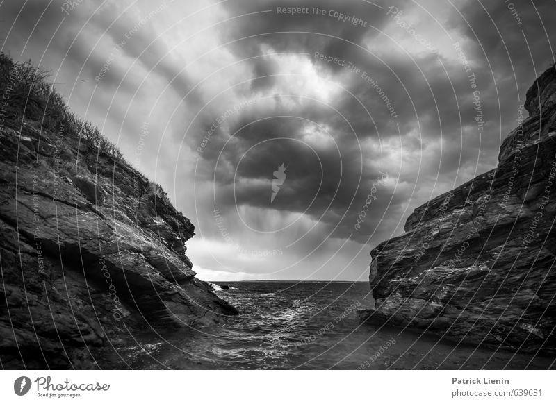 Sky Nature Water Ocean Landscape Clouds Environment Coast Gray Rock Horizon Weather Rain Waves Wind Perspective