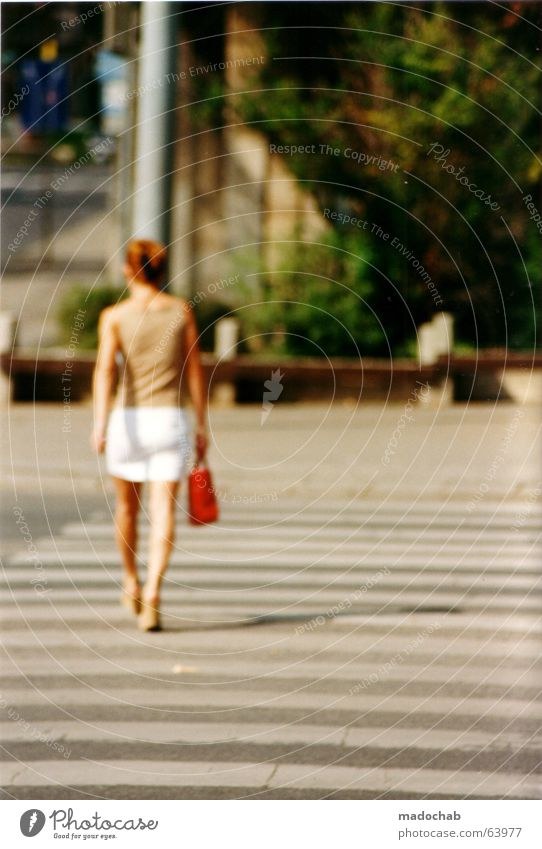 Woman Human being Youth (Young adults) Summer Life Feminine Elegant Transport To go for a walk Bag Zebra crossing Pedestrian crossing Budapest Stalker Stalking