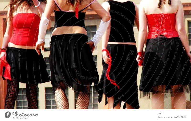 Black and red sins Youth (Young adults) cabaret black and red skirts legs corsage dancing backs four
