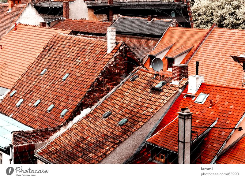 above the roofs Roof Red Unicoloured Brick Muddled Flat (apartment) Chimney Decline goerlitz Old New Living or residing