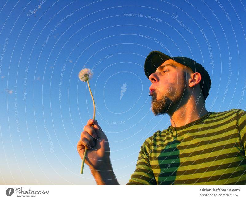 Man Sky Flower Green Blue Summer Joy Relaxation Freedom Flying T-shirt Leisure and hobbies Stripe Facial hair Dandelion Blow
