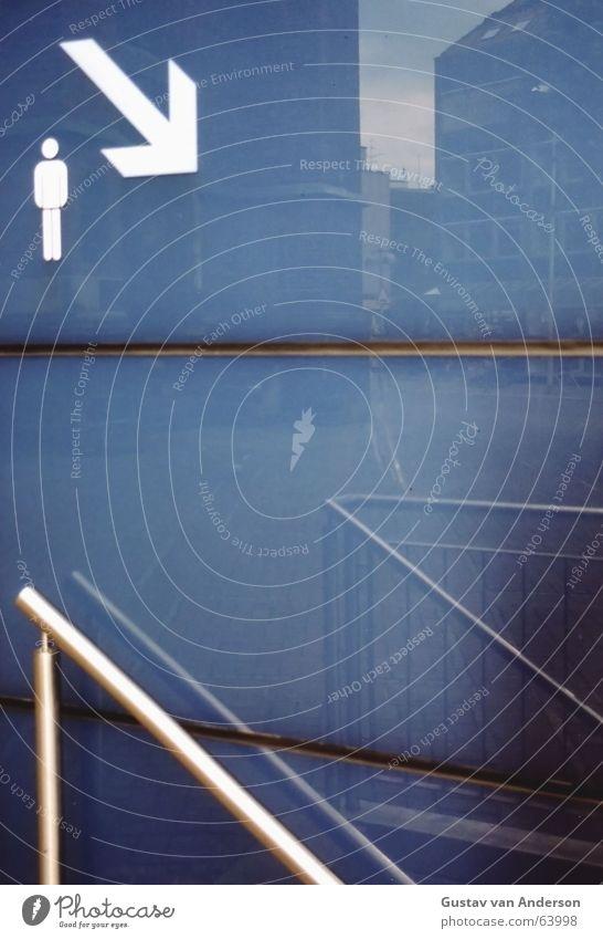 Man Water Blue Cold Glass Drops of water Wet Toilet Pants Arrow Under Narrow Handrail Downward Seam Gentleman