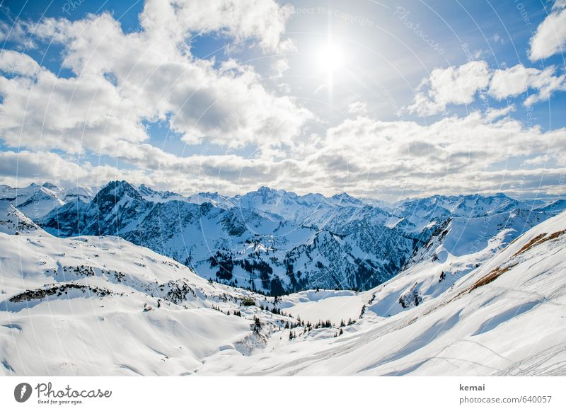See snow, marvel at mountains Environment Nature Landscape Elements Sky Clouds Sun Sunlight Winter Beautiful weather Ice Frost Snow Rock Alps Mountain Peak