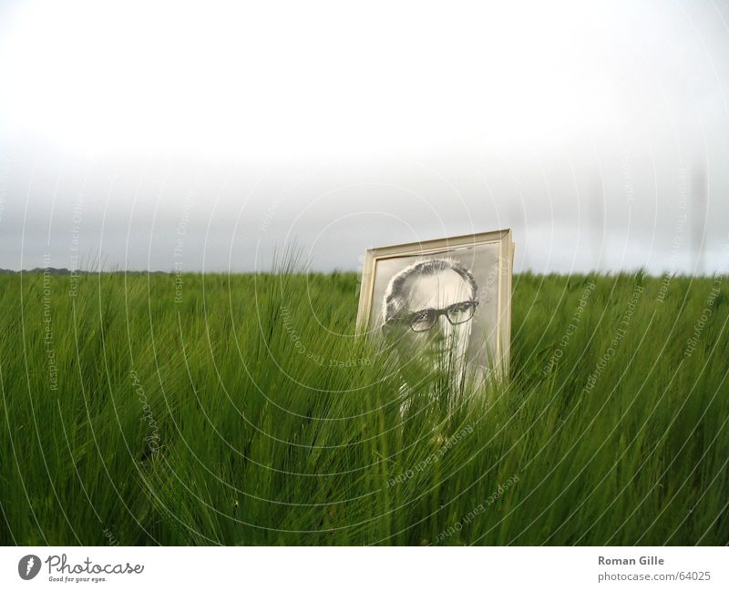Sky Green Clouds Loneliness Gray Landscape Field Germany Image GDR Frame Picture frame Bad weather President