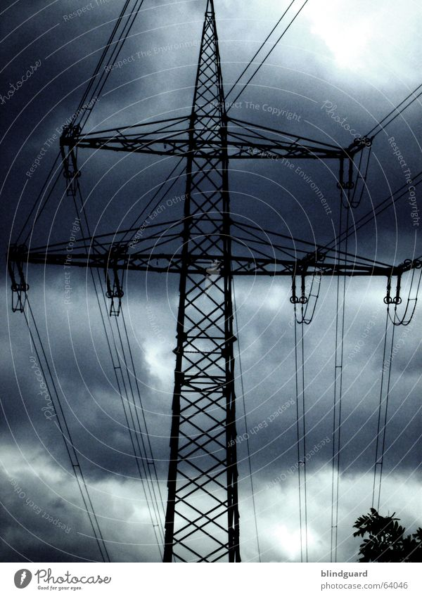 Sky Clouds Dark Energy industry Electricity Cable Steel Thunder and lightning Electricity pylon Construction Antenna Transmission lines 100 High voltage power line Electric Avaricious