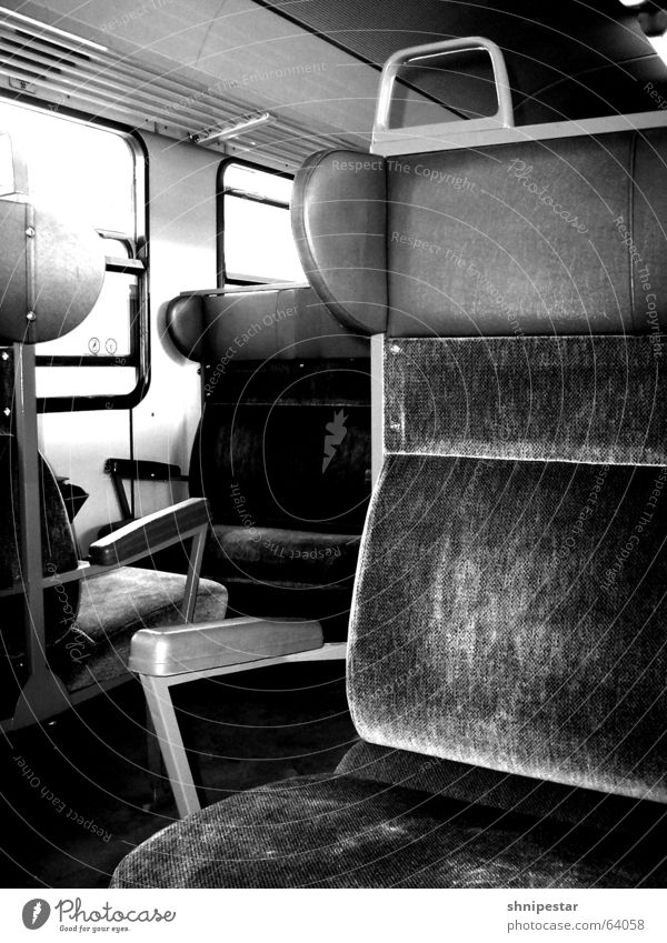 Summer Vacation & Travel Calm Loneliness Relaxation Window Warmth Railroad Empty Open To enjoy Seating Old-school Black & white photo Bielefeld