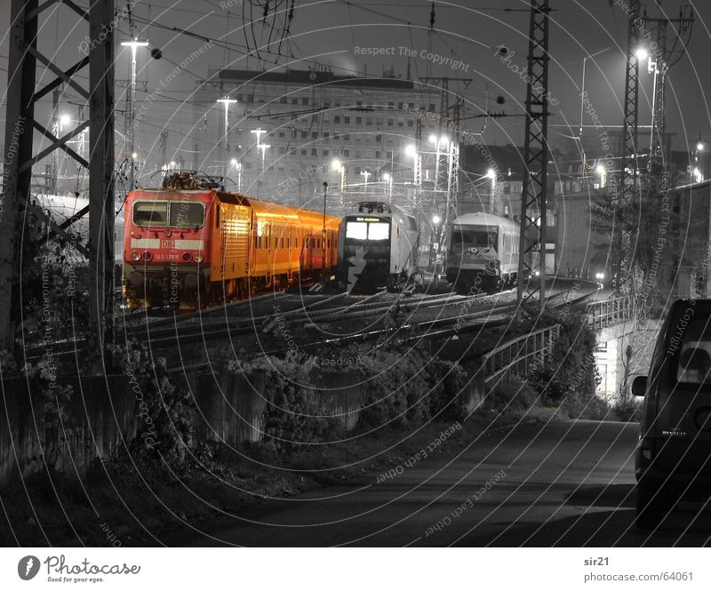 Image editing Train station Night shot Colorkey