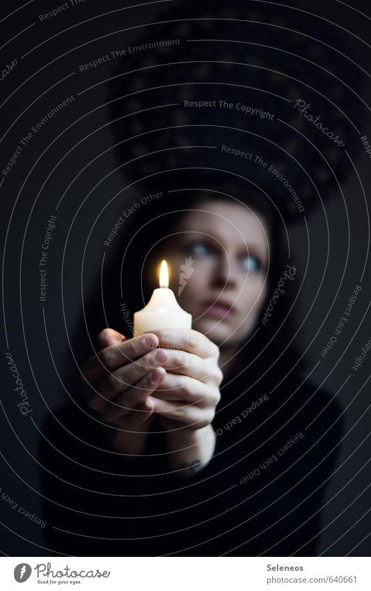 Human being Woman Hand Calm Dark Face Adults Warmth Sadness Feminine Dream Illuminate Fingers Candle Near Concern