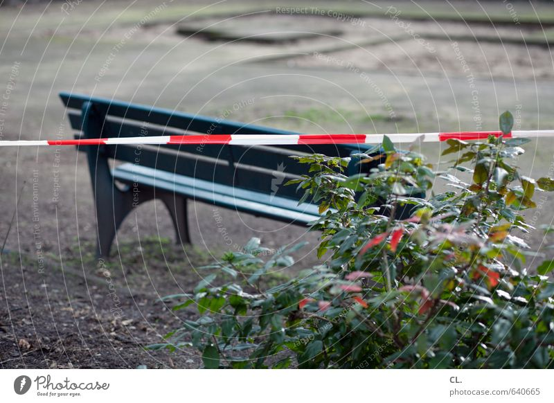 sit forbidden Environment Nature Bushes Sit Wait Gloomy Longing Disappointment Loneliness Frustration Safety Stagnating Bans Bench Park Playground Barred