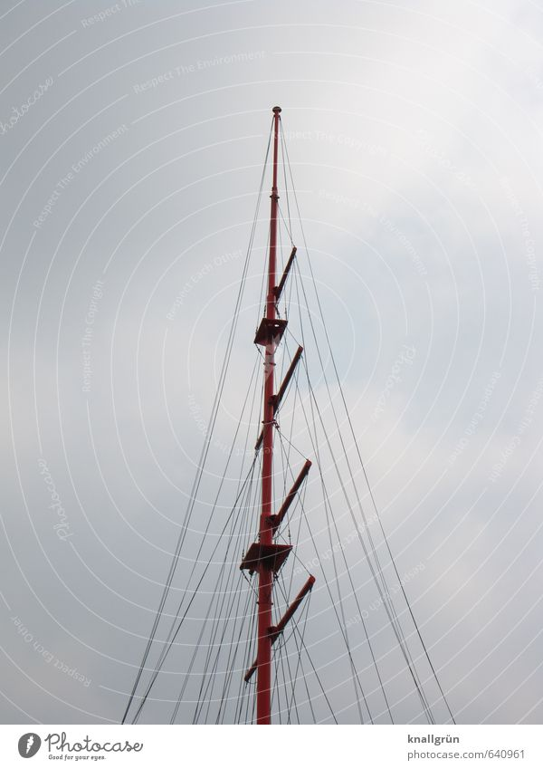rig Sailing Sky Clouds Rigging Large Tall Blue White Sports Mast Rope spar Sailing ship Colour photo Exterior shot Deserted Copy Space left Copy Space right