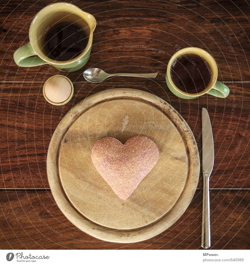 Healthy Eating Emotions Food Heart Beverage Romance Drinking Coffee Delicious Tea Breakfast Cup Wooden board Egg Baked goods Roll