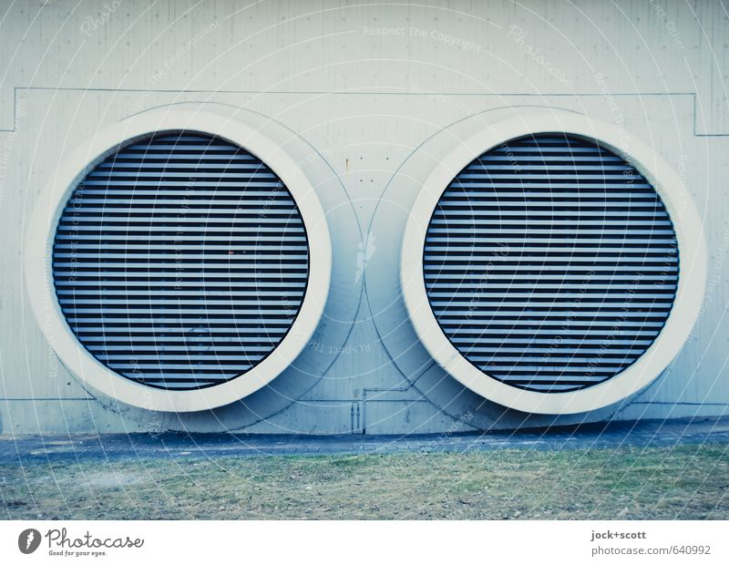 Lines in two circles Technology Ventilation Manmade structures Wall (building) Pipe Metal grid Concrete Large Modern Round Gloomy Design Symmetry Circle
