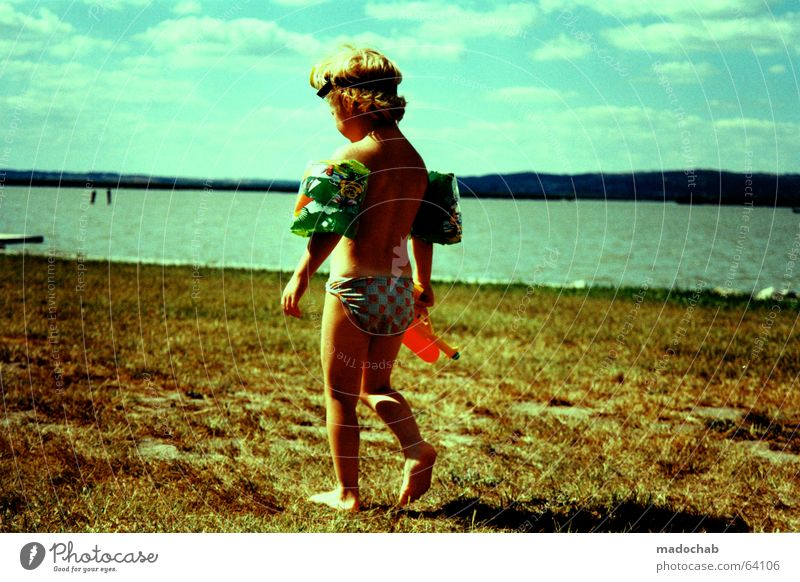 Child Water Sky Sun Summer Joy Beach Clouds Colour Boy (child) Naked Playing Grass Freedom Lake